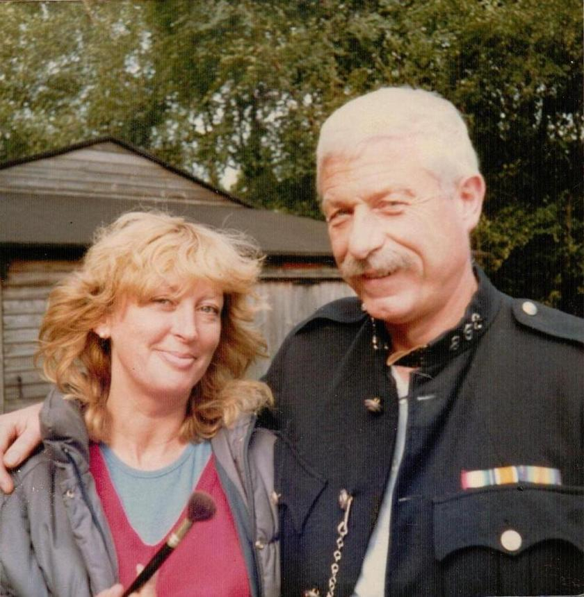 Assistant Make-up Designer Penny Fergusson with John Woodvine who played PC Tedder in 'Coot Club', 1983