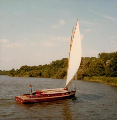 Lullaby undersail, playing the Teasel with her stage name painted on a false transome