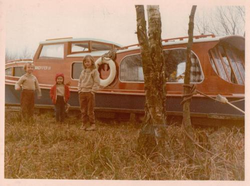 Sophie Neville with her sisters on the Norfolk Broads
