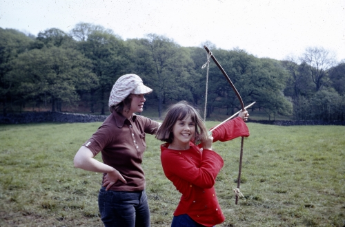 My mother, Daphne Neville wearing a Donny Osmond hat in 1973 on location for SWALLOWS & AMAZONS