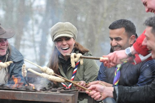 The Duchess of Cambridge cooking on a campfire in Cumbria