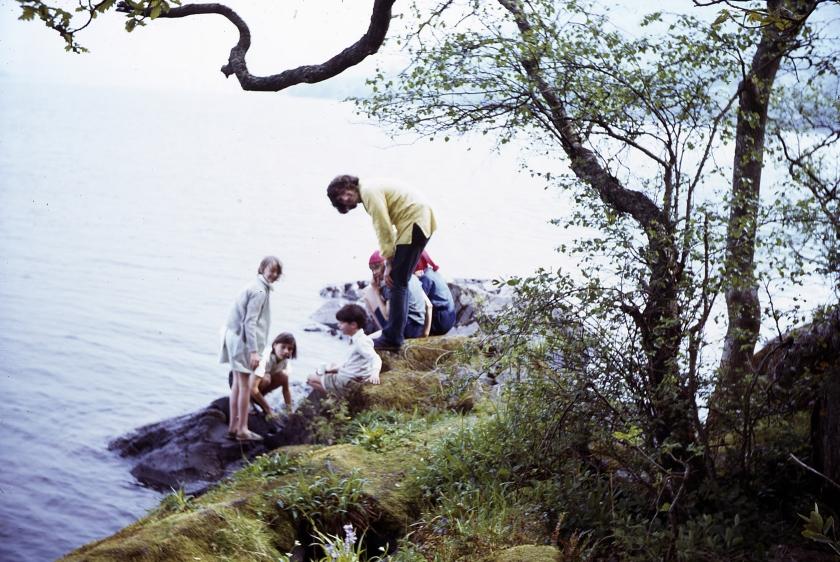 Sophie Neville, Suzanna Hamilton, Stephen Grendon, Lesley Bennett and Kit Seymour with David Blagden on Peel Island on Coniston