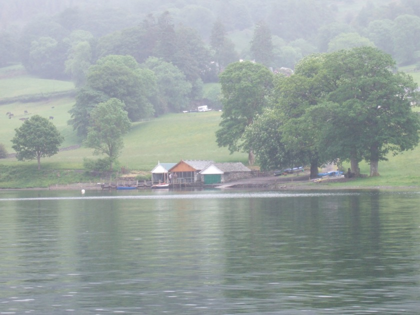 The Lanehead boathouses below Bank Ground Farm