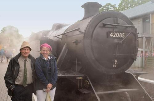 Peter Walker with Sophie Neville and the locomotive