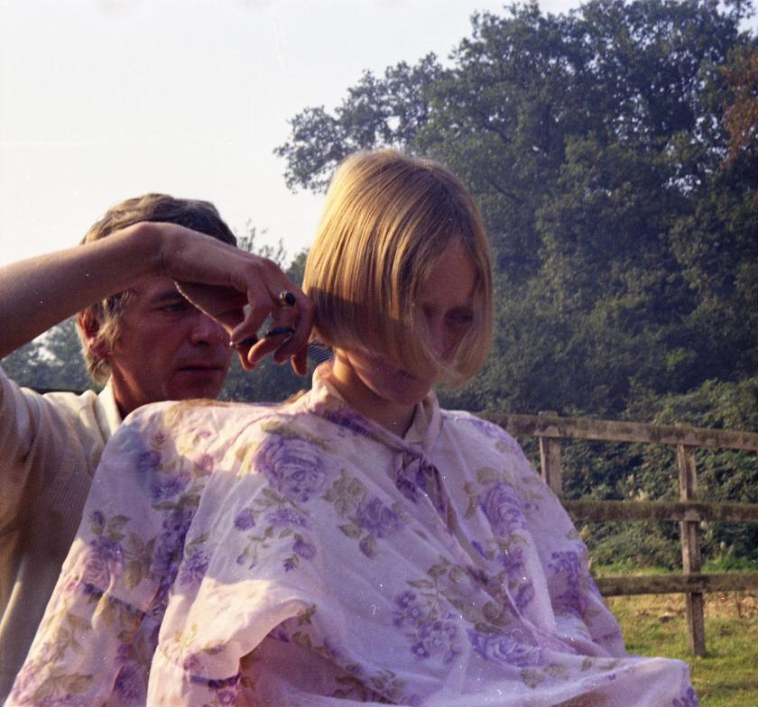 Sophie Neville having her hair cut on location for the part of Titty Walker in 1973