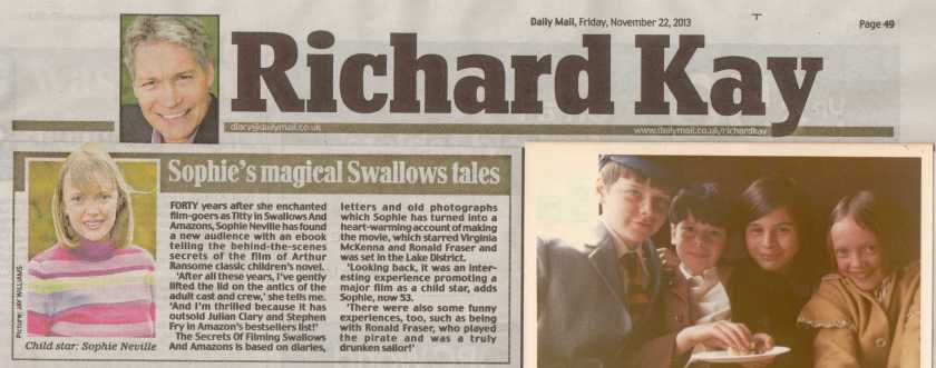 Richard Kay article Swallows and Amazons ebook by Sophie Neville Nov 20131