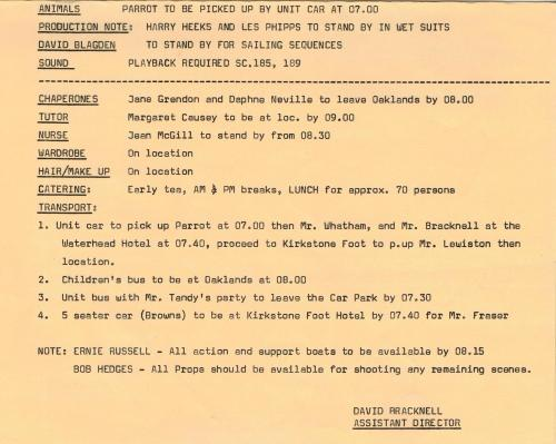 One of the daily unit call sheets issued on 'Swallows & Amazons' (1974)