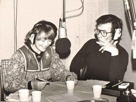 Daphne Neville making a radio commercial