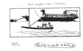 Stephen Spurrier's unused illustration of Swallow sailing past Captain Flint's houseboat