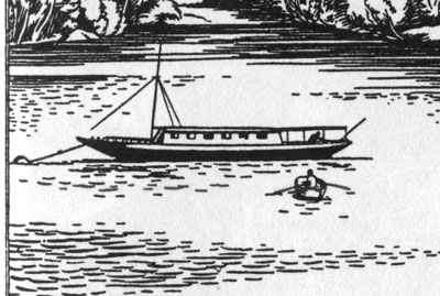 Clifford Webb's illustration of Captain Flint's houseboat