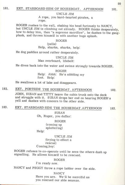 A page of David Wood's original screenplay: 'Swallow & Amazons' (1974)