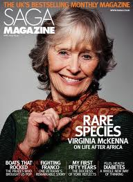 Virginia McKenna onthe cover of Saga Magazine