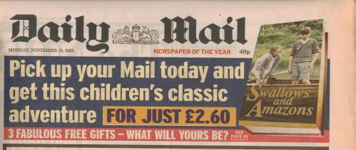 Swallows and Amazons in the Daily Mail -