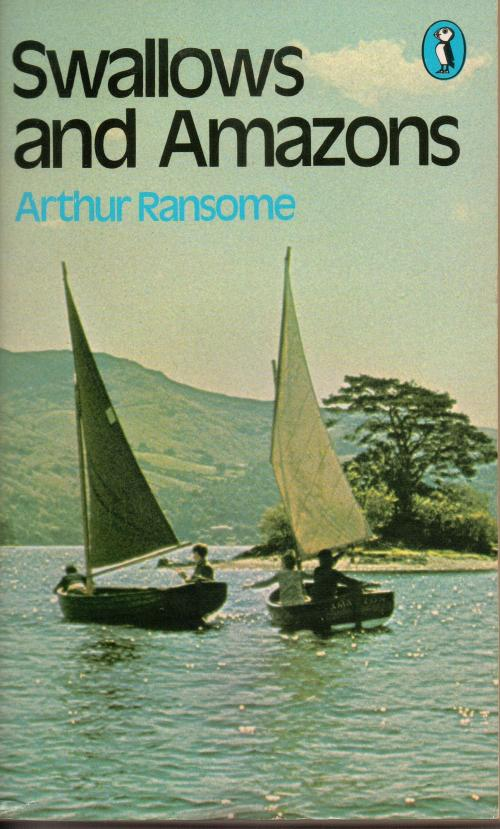 Stephen Grendon, Simon west, Sophie Neville and Suzanna Hamilton on the cover of the 1974 Puffin edition of 'Swallows and Amazons'