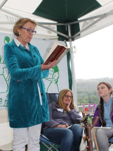 Sophie Neville at the Marathon Read of 'Swallows and Amazons' with Caz Graham and her daughter Lucywho also read chapters