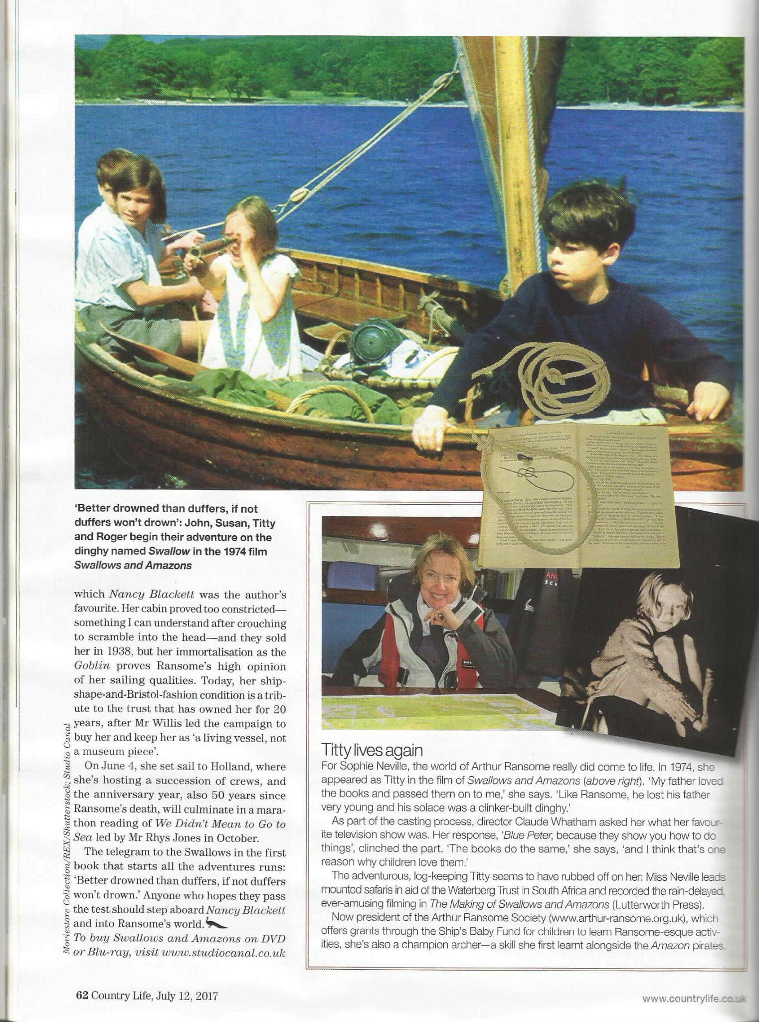 Sophie Neville profiled in Country Life magazine 12 July 2017
