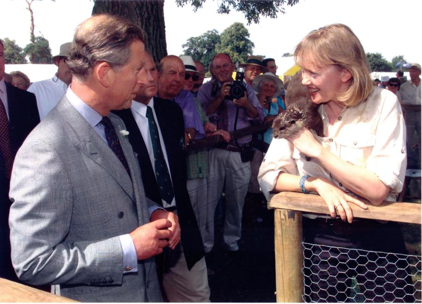 Sophie Neville meeting Prince Charles in 2001