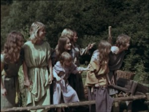 Heather Wright with Perry, Sophie and Daphne Neville in Arthur of the Britons
