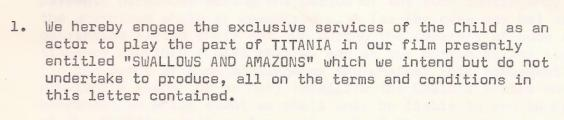 Theatre Projects contract 1973 'Titania'