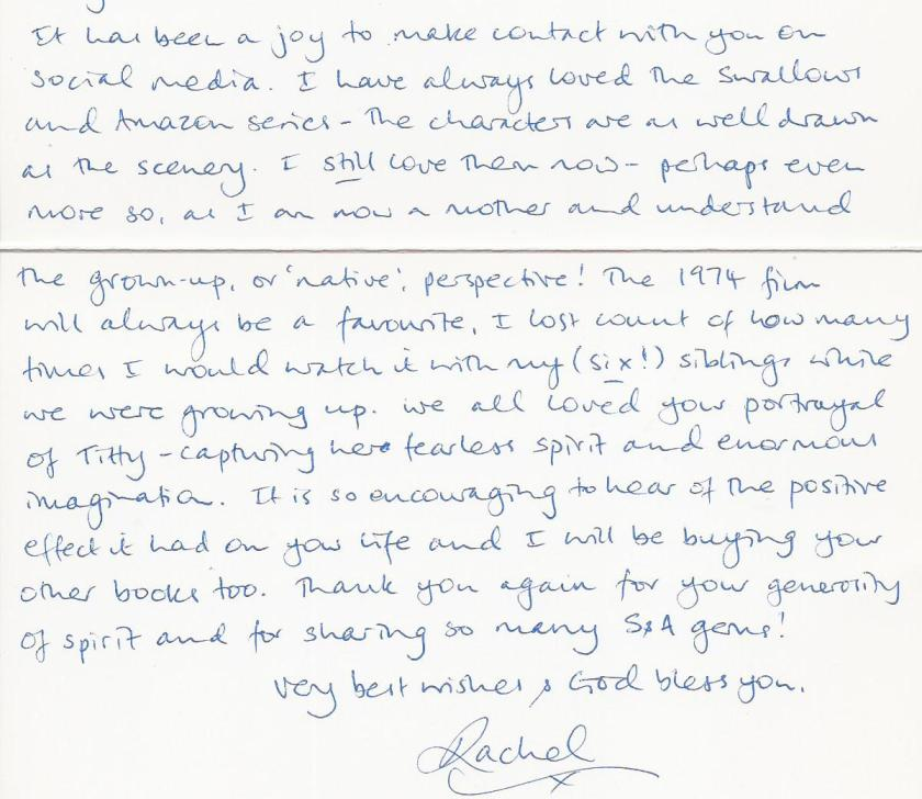 Letter re The Making of Swallows and Amazons