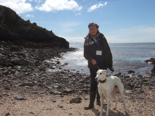Sophie Neville with Flint on Rough Island