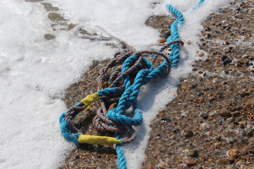 blue chain on the sea shore