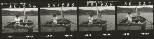 Contact sheet - blurred images of Sten Grendon and Sophie Neville rowing to Cormorant Island