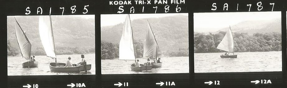 Contact sheet sailing Swallow & Amazon in 1973