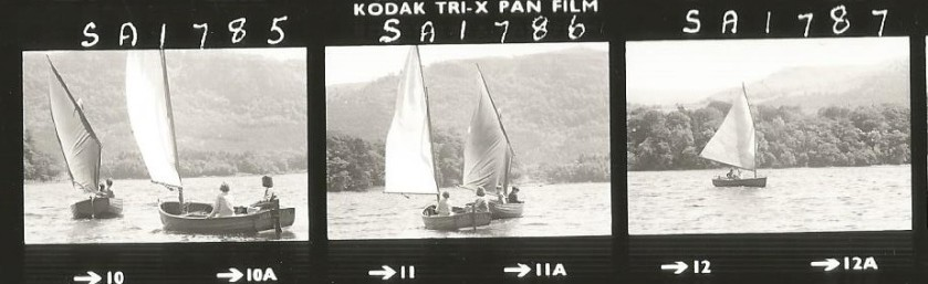 Contact sheet sailing Swallow & Amazon in 1973