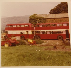 Lesely Bennett's photo of the double decker buses at Bank Ground Farm in 1973