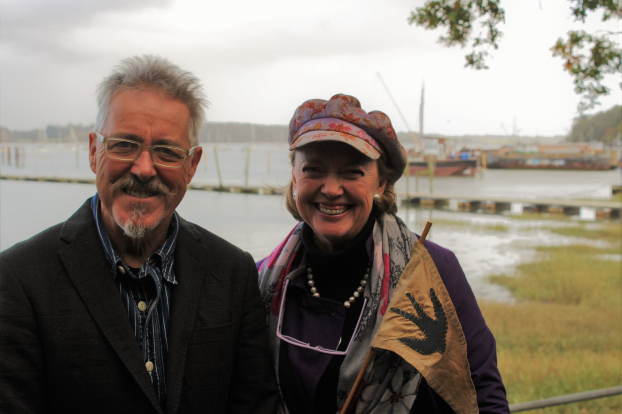 Griff Rhys Jones and Sophie Neville at Pin Mill 21st Oct 2017