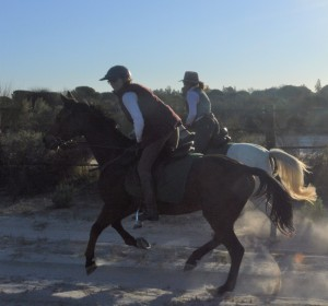 Sophie Neville cantering in Spain