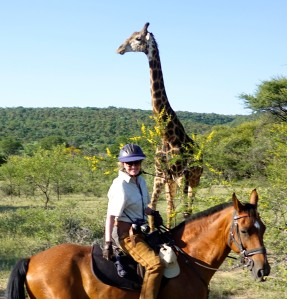 TWT Ride 2018 Sophie Neville and giraffe - photo Ant Baber