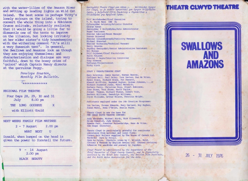 9. Leaflet programme for S and A film Theatr Clwyd 1976_front