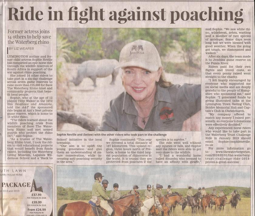'Ride in fight against poaching' - Sophie Neville - Lymington