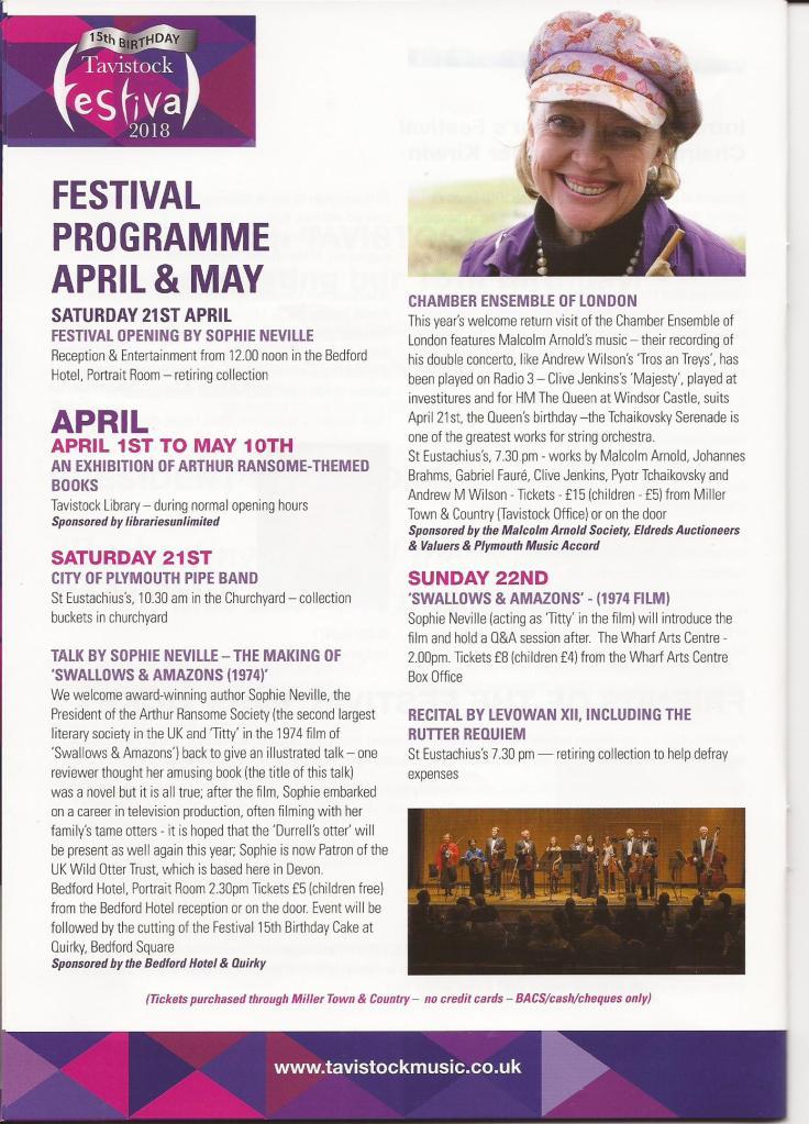 Sophie Neville opening Tavistock Festival