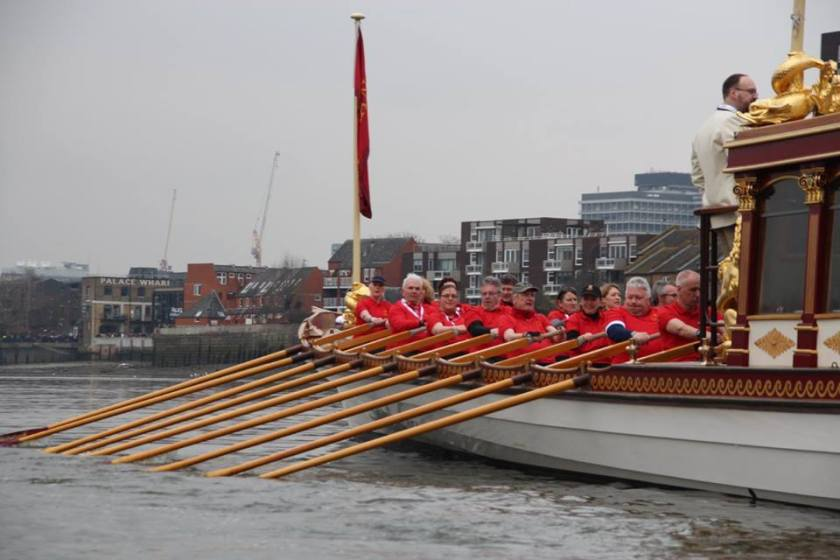 Rowing the Gloriana through London