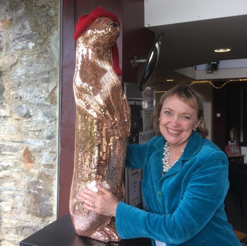 Sophie Neville with Rosie the Otter at The Wharf Cinema for the Tavistock Festival