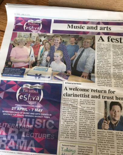 Sophie Neville centre spread in the Tavistock Times