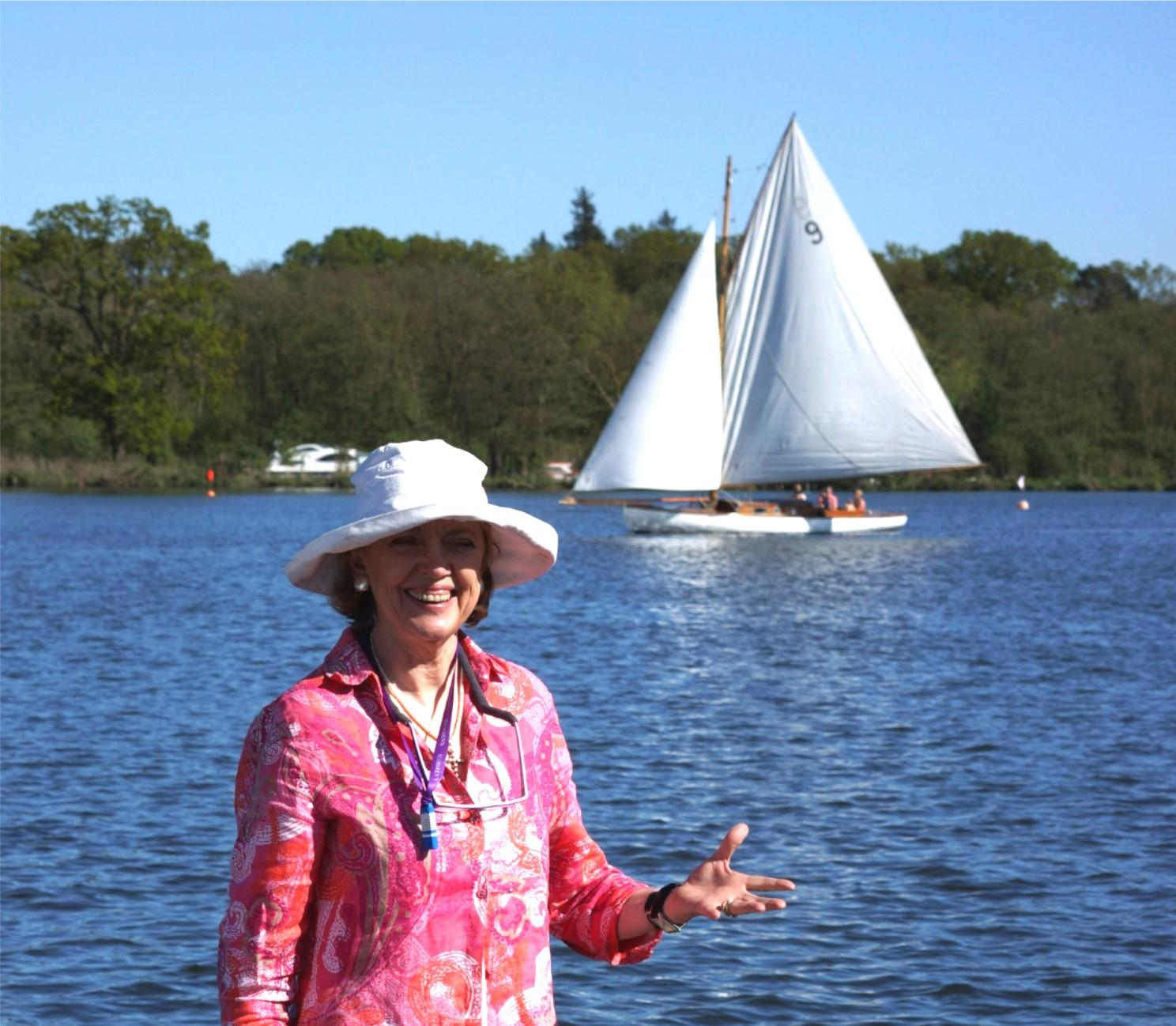 Sophie Neville with the yacht 'Goldfish'