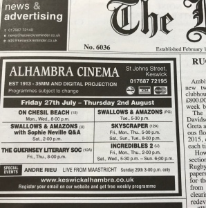 Keswick Reminder Film Billing