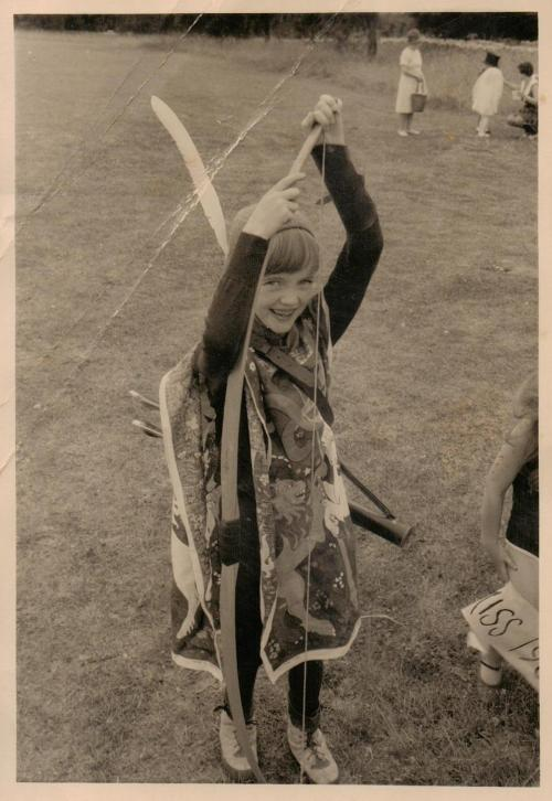 Sophie Neville dressed as a medieval archer in 1969.