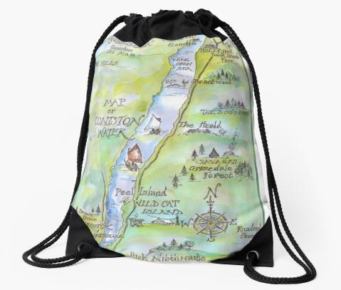 Drawstring bag with map of Coniston Water