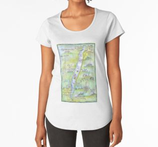 Map of Coniston on lady's T shirt
