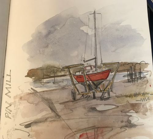 Claudia Myatt's sketch of a yacht at Pin Mill