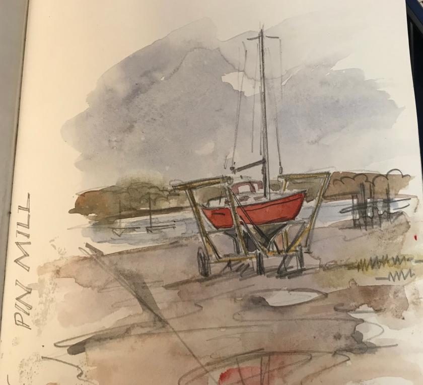 Claudia Myatt's sketch of a yacht at Pin Mill