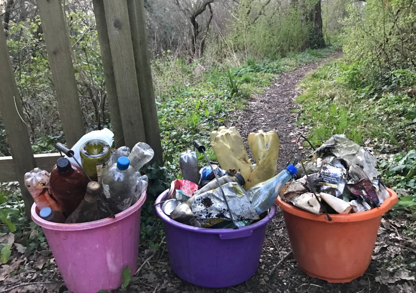 Rubbish buckets at nature reserve