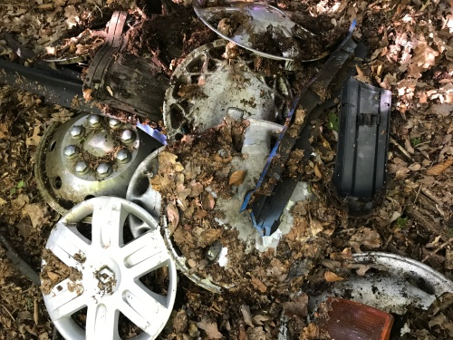 Hub caps, lights and other vehicle parts had been dumped on this private property, just a little way from the road.