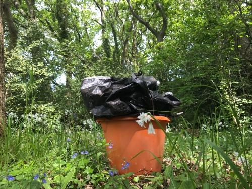 Rubbish - organge bucket with ground sheet