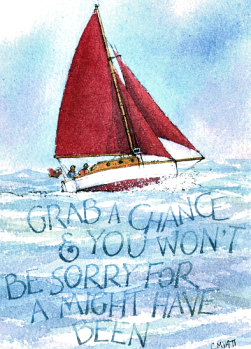 Grab A Chance Greetings Card by Claudia Myatt[4614]